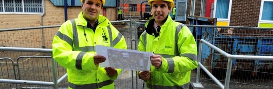 Barrie Kirk, left, facilities manager at John Leggott College, and Jonathan Collinson, site manager for Houlton