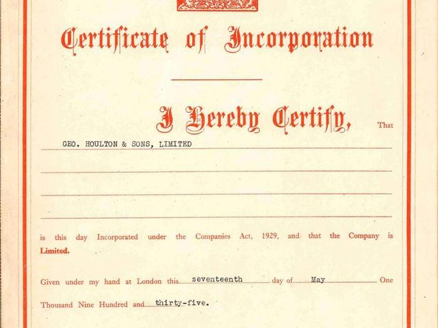 Certificate of Incorporation 1935