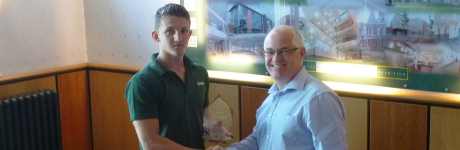 Andrew Kingston presenting Josh Hunter with his Awards
