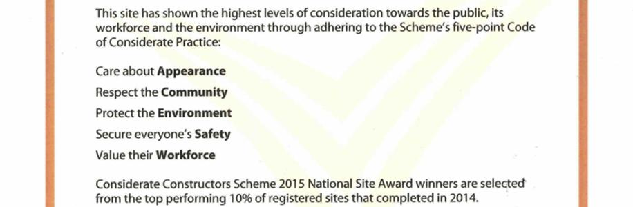 Considerate Constructors National Award Bronze HRI Tower Recladding