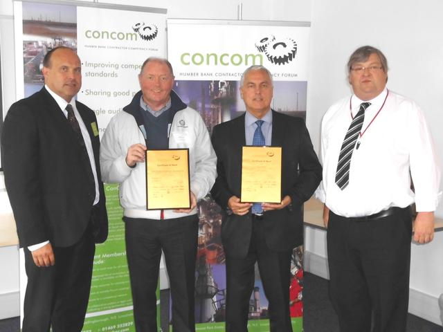 Houlton SHEQ Manager Ian Shepherdson receiving ConCom Certificate of Merit (second from right)