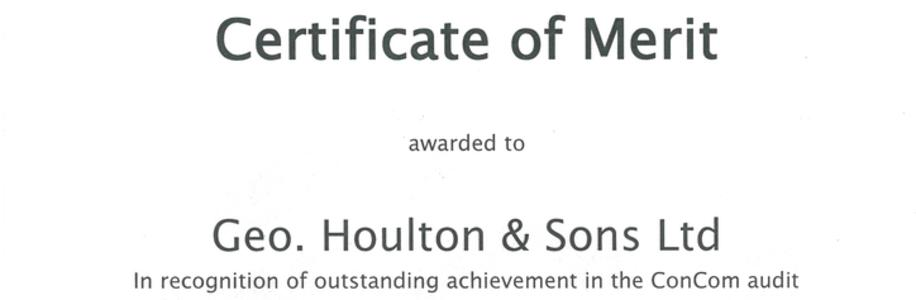 Houlton Wins Certificate of Merit