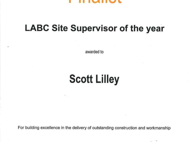 LABC Building Excellence Awards 2015 North and East Yorkshire Finalist Site Supervisor of the Year - Scott Lilley Houlton Site Manager